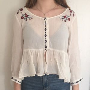 Cropped Embroidered Blouse